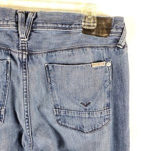 Hudson Men Blue Jeans 34x34 Medium Wash Button Fly